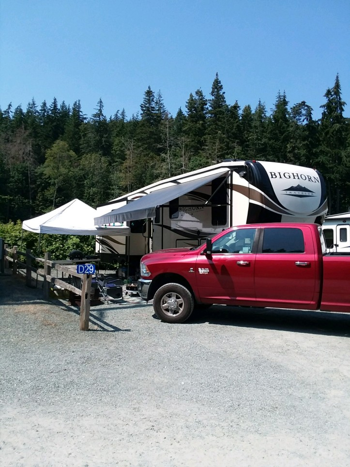 our camping spot in anacortes and Pioneer Trails